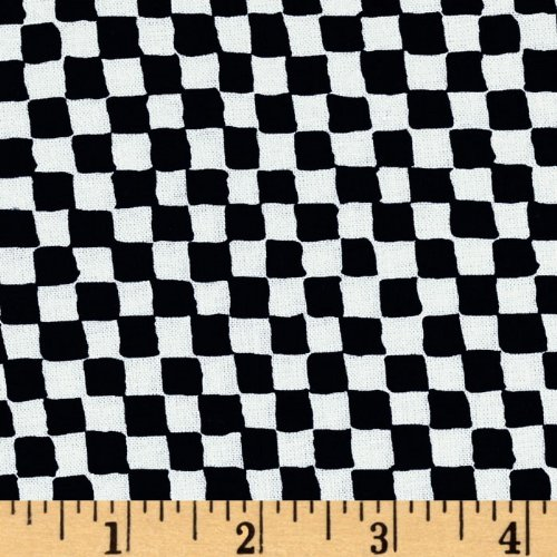 Clown Check - Michael Miller Clown Check Black/White Fabric by The Yard