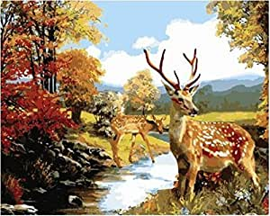 Diy oil painting, paint by number kit- Sika deer 16*20 inch. by Colour Talk