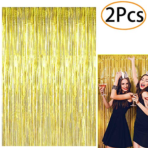 2Pcs Foil Fringe Curtain Metallic Photo Booth Props Backdrop Tinsel Door Window Hanging Curtain for Birthday Wedding Bridal Shower Baby Shower Graduation Party Decorations(Gold) ()