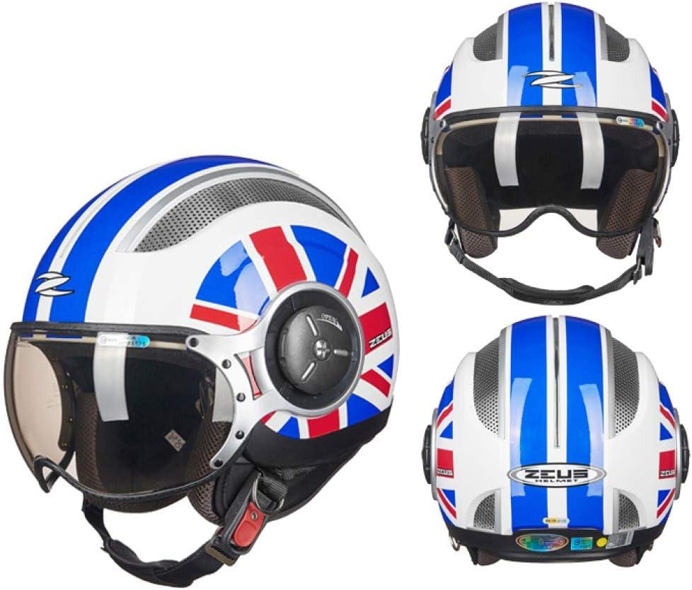 QE Retro Moto Casco,Personalidad Negro Mate Protección UV Sombra ...