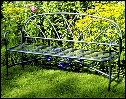 Amazon Com Wrought Iron Garden Bench Outdoor Benches Garden