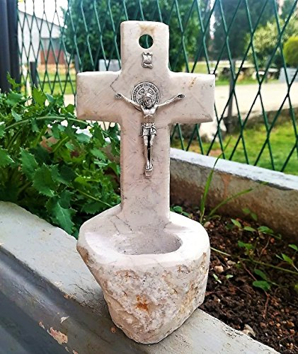 Holy Water Font for Home Medjugorje Natural Stone Handmade Table Wall Cross Holy Water Holder (Holy Water Holders)