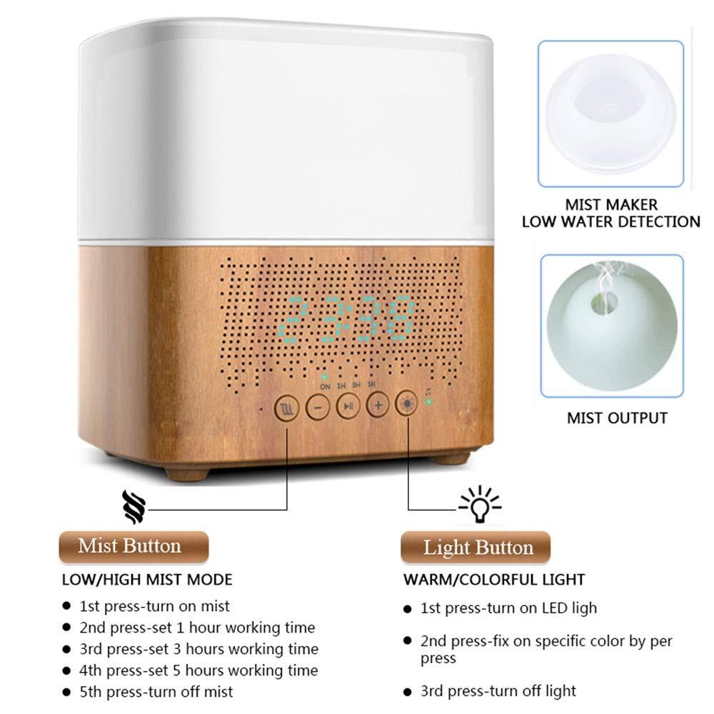 OPPP Luftbefeuchter 300ml Ultraschall Duft Diffusor Luftbefeuchter Zeitanzeige Bluetooth Musik LED Nachtlicht Home Office Wecker