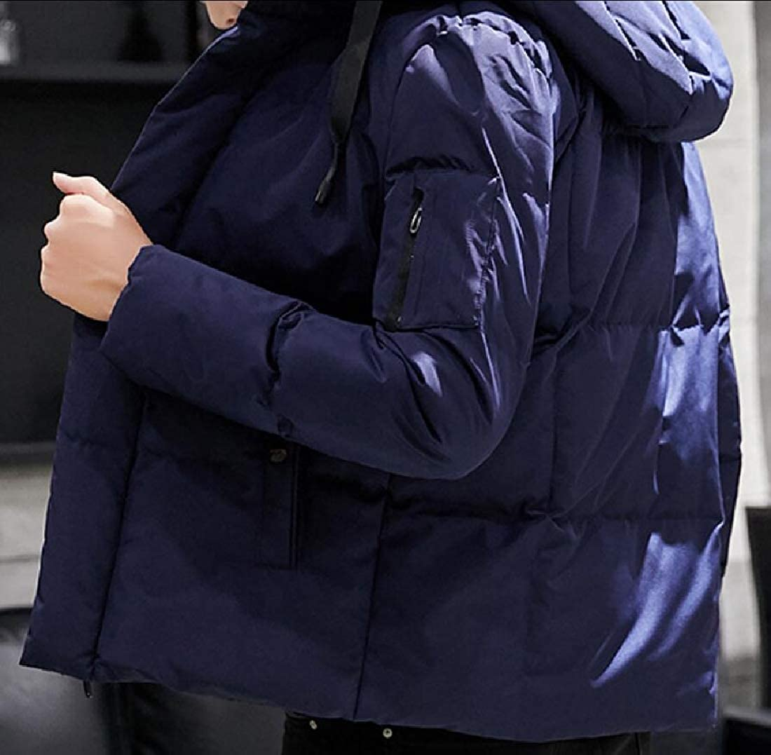 M/&S/&W Mens Warm Solid Down Jacket Thicken Hooded Quilted Down Coat Jackets