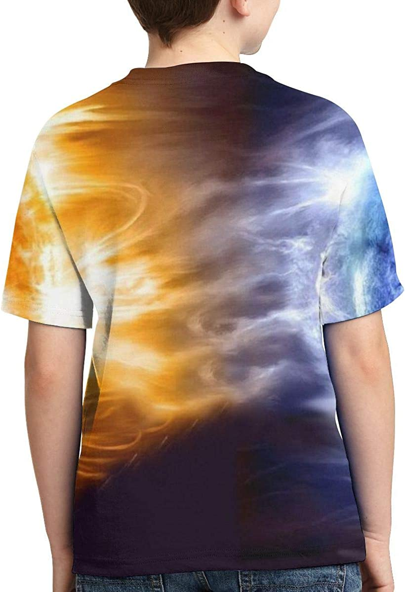 Summer Tops for Boys Fire Water Space Full Printed Short Sleeve Crew Neck Tees Youth T-Shirts