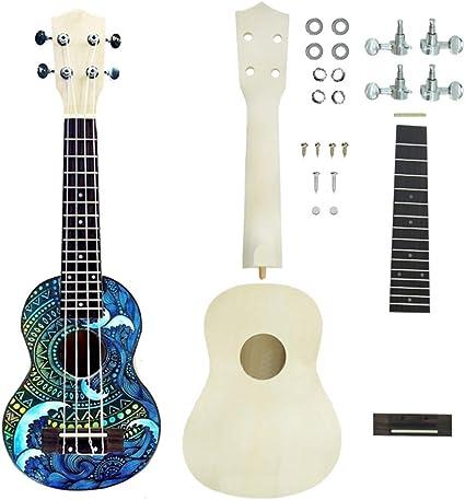 xMxDESiZ 53,34 cm Ukelele DIY Kit Guitarra Mano Apoyo Pintura ...