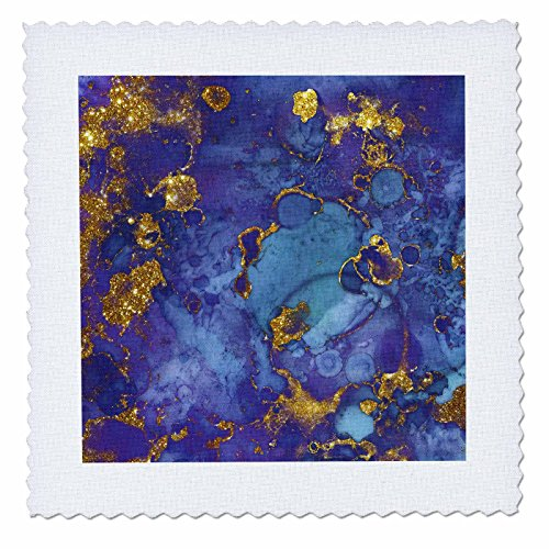 - 3dRose Anne Marie Baugh - Abstract - Purple and Faux Gold Watercolor Splash - 18x18 inch Quilt Square (qs_283315_7)