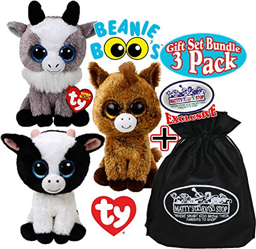 Ty Beanie Boos Butter (Cow), Harriet (Horse) & Gabby (Goat) Gift Set Bundle with Bonus Matty's Toy Stop Storage Bag - 3 - Cow Beanie