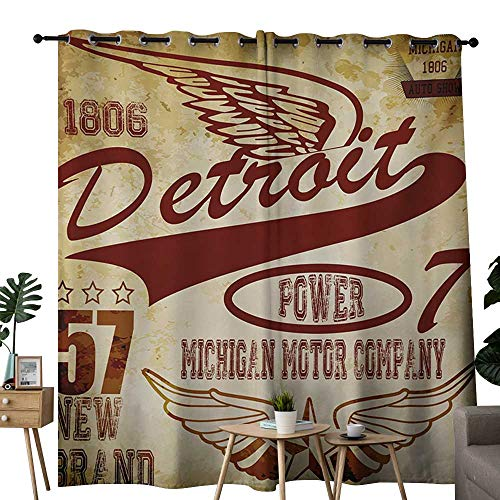 Wings Kendall Company (NUOMANAN Customized Curtains Detroit,Vintage Elements Michigan Company Free Wings Transport Auto Show Themed,Pale Yellow Burgundy,Blackout Thermal Insulated,Grommet Curtain Panel Set of 2 84