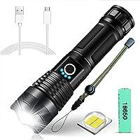 SunTop XHP50 Led-zaklamp, superhelder, 4000 lumen, USB-oplaadbaar, inclusief 18650 batterij, 5 modi, zoombaar…
