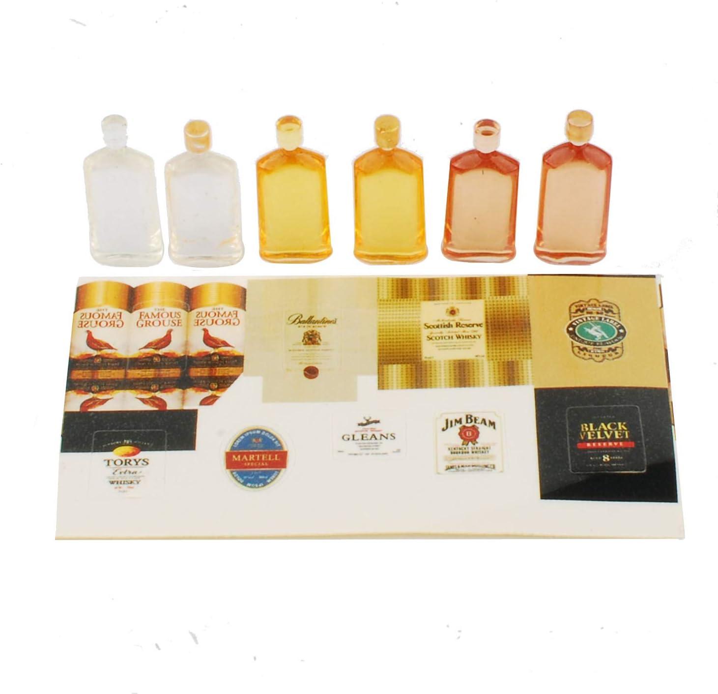 Set of 6 Pcs Miniature Whisky Bottles Model Dollhouse Food Accessories