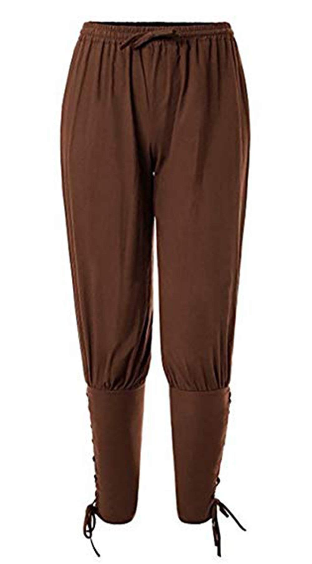 LETSQK Ankle Banded Pants Medieval Viking Navigator Trousers Halloween Costume Brown XL