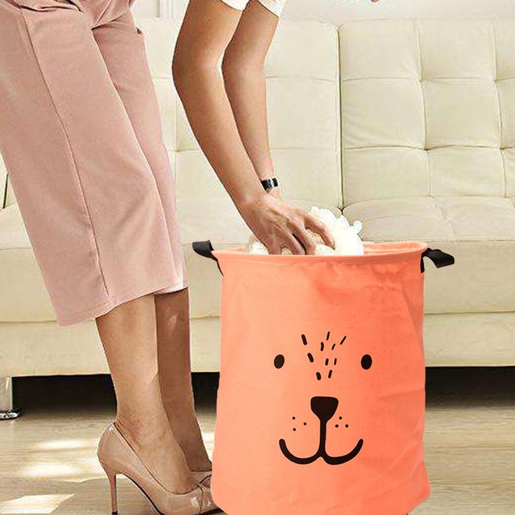Collapsible Laundry Hamper Or Laundry Basket for Bedroom, Nursery, Dorm, Or Closet (Large Round) - Black Handling Stripe Amyove
