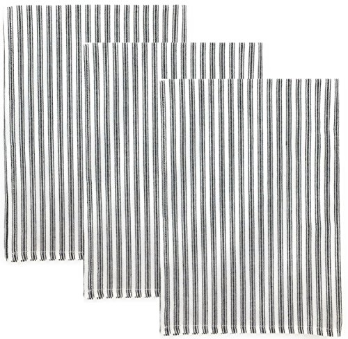 (Dunroven House Ticking Stripe 100% Cotton Kitchen Towels, Set of 3 (Black))