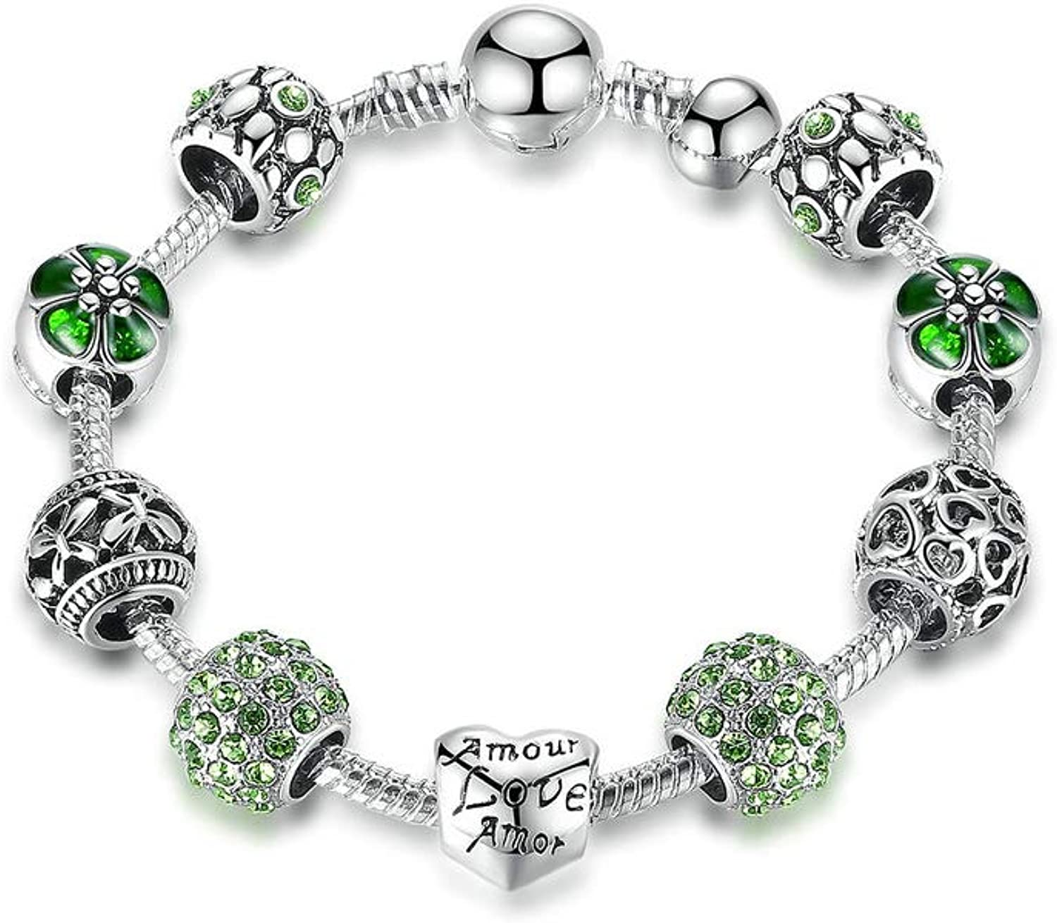 Mounobe Antique Silver Charm Bracelet /& Bangle with Love and Flower Beads Women Wedding Jewelry 4 Colors 18CM 20CM 21CM PA1455 PA1455 21cm