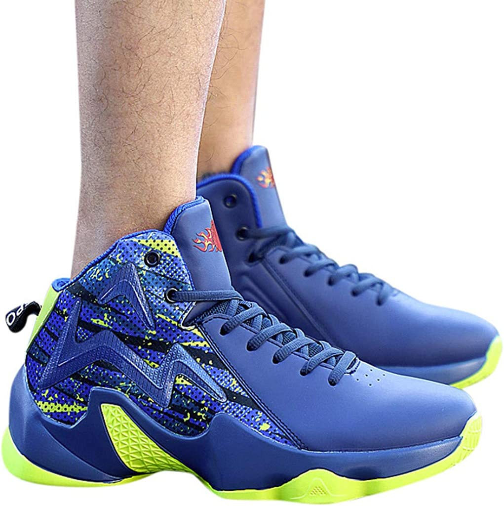 NOMENI Mens High-Top Non-Slip Breathable Sneakers Basketball Shock Absorption High Elastic Athletic Training Shoes