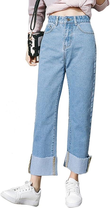 Tsinyg Pantalones Rectos Flojos De La Cintura Alta De La Moda De Las Mujeres Pantalones Rectos Flojos De Los Estudiantes Color Azul Tamano 32 Amazon Com Mx Hogar Y Cocina