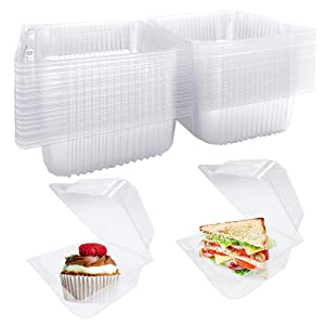40 Pcs Clear Plastic Hinged Food Containers,Square Take Out Container,Disposable Clamshell Dessert Containers for Cake,Sandwiches,Salad,Fruit,Hamburger,5x4.7x2.8 Inch