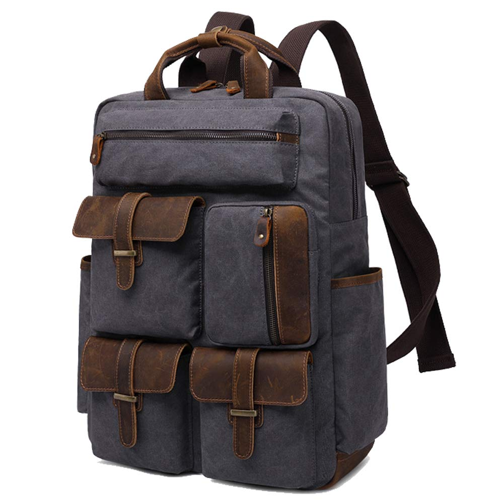 b4fd04df62f6ba Amazon.com: Laptop Backpack Vintage Leather Canvas Backpack with Pockets  15.6 inch for Men & Women Water-Resistant Travel School Bag (Gray):  Computers & ...
