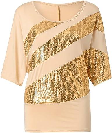 Proumy Camiseta de Rayas Blusa de Mujer con Lentejuelas ...