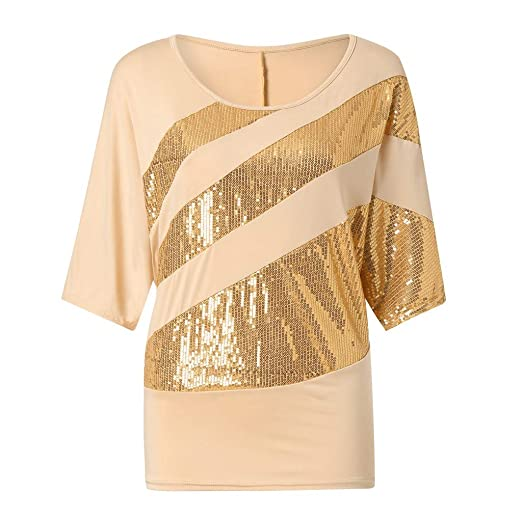 f6e9f9763d1 Image Unavailable. Image not available for. Color  OrchidAmor Women Sequin  Causel T-Shirt Top Cold Shoulder Blouse Plus Size Yellow