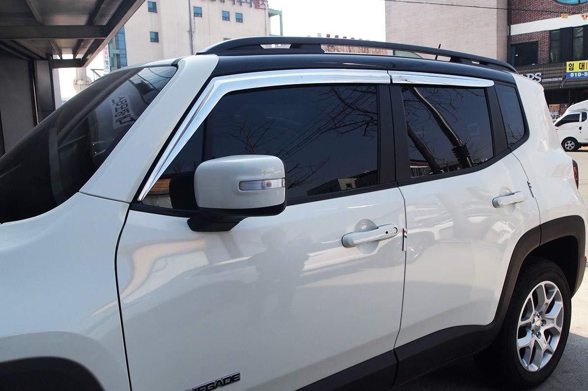 4 pieces Autoclover Chrome Wind Deflectors Set for Jeep Renegade 2014+