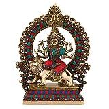 Collectible India 15'' Large Durga Idol Brass Sculpture Mythological Indian Hindu Goddess Durga Shrine Statue-Hindu Maa Durga Temple Offering idol