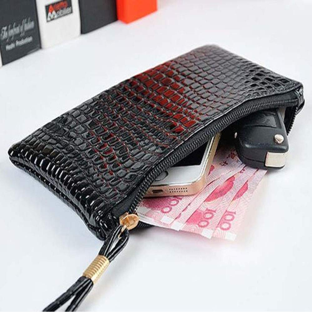 ❤️Sunbona Card Holder Wallet for Women Crocodile Leather Clutch Handbag Bag Coin Purse Card Holder Crossbody Bags (Black) by Sunbona (TM) (Image #3)