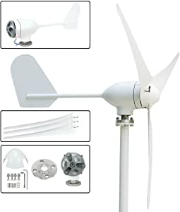 uxcell® 400W 12V/24V AC 1.55m Wheel Diameter 3Pcs 750mm Fiberglass Blades Wind Turbine Generator 2m/s Start-up Wind Speed