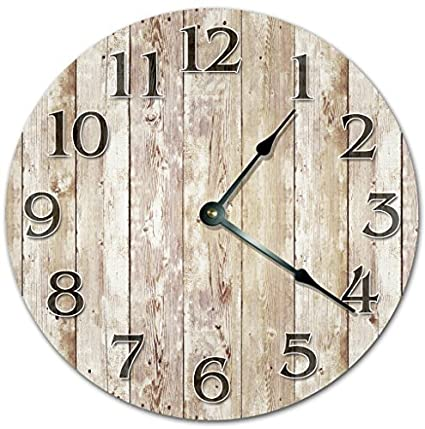 Funny Wall Clocks Decorative For Living Room Old Wood Boards Clock  Farmhouse Clock Nursery Round Wood
