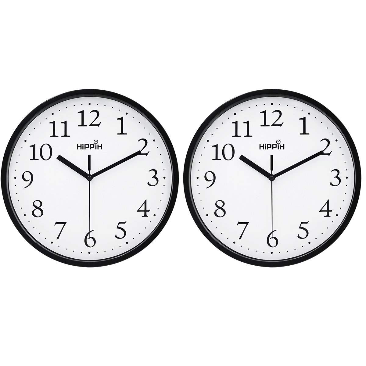 Hippih Black Wall Clock Silent Non Ticking Quality Quartz, 10 Inch Round Easy to Read For Home Office School Clock 2 pack