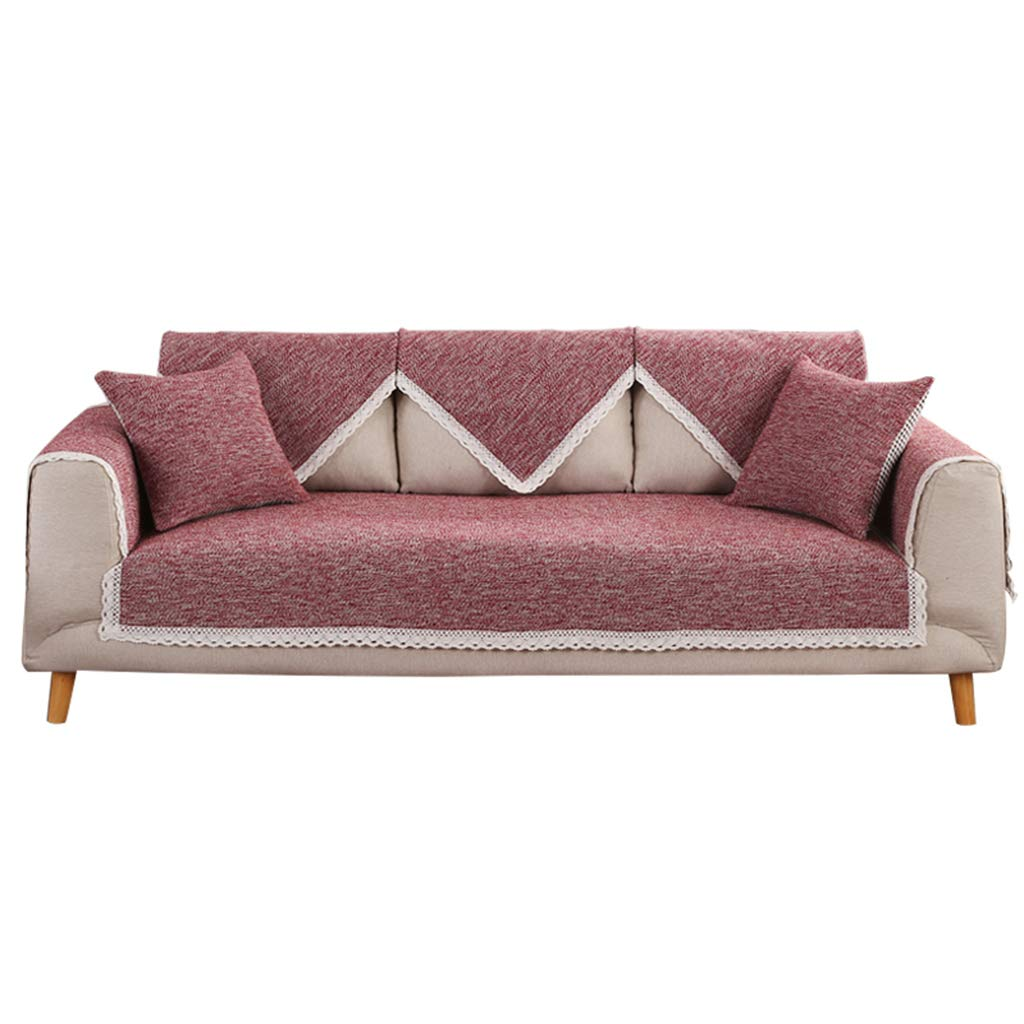 Furniture Accessories Sofa Cushion Cushion Tablecloth Solid Color Cotton Sofa Cushion Winter Warm Summer Cool Simple Modern Sofa Towel Cover Slip wash (Color : Red, Size : 70150cm)
