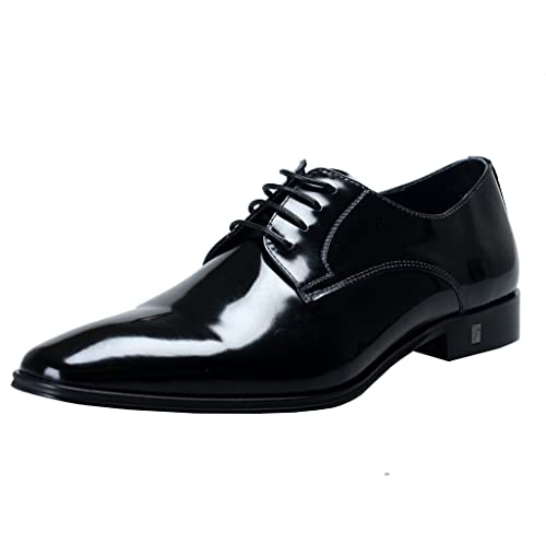 Versace Collection Men's Black Polished Leather Derby Shoes ...
