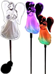 Acrylic Solar Angel Lights with A Frosted Skirt Solar Garden Stake - Box of 2