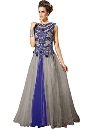 Women\'s Blended Soft Net Embroidered Grey & Blue Coloured Wedding ...