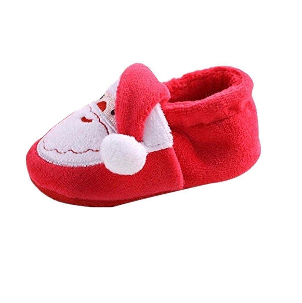 Auxma Baby Weihnachtsschuhe, Weihnachten erste Wanderschuhe,Winter Baby Jungen Mädchen Santa Weiche Sohle Prewalker Schuhe für 0-18 Monate