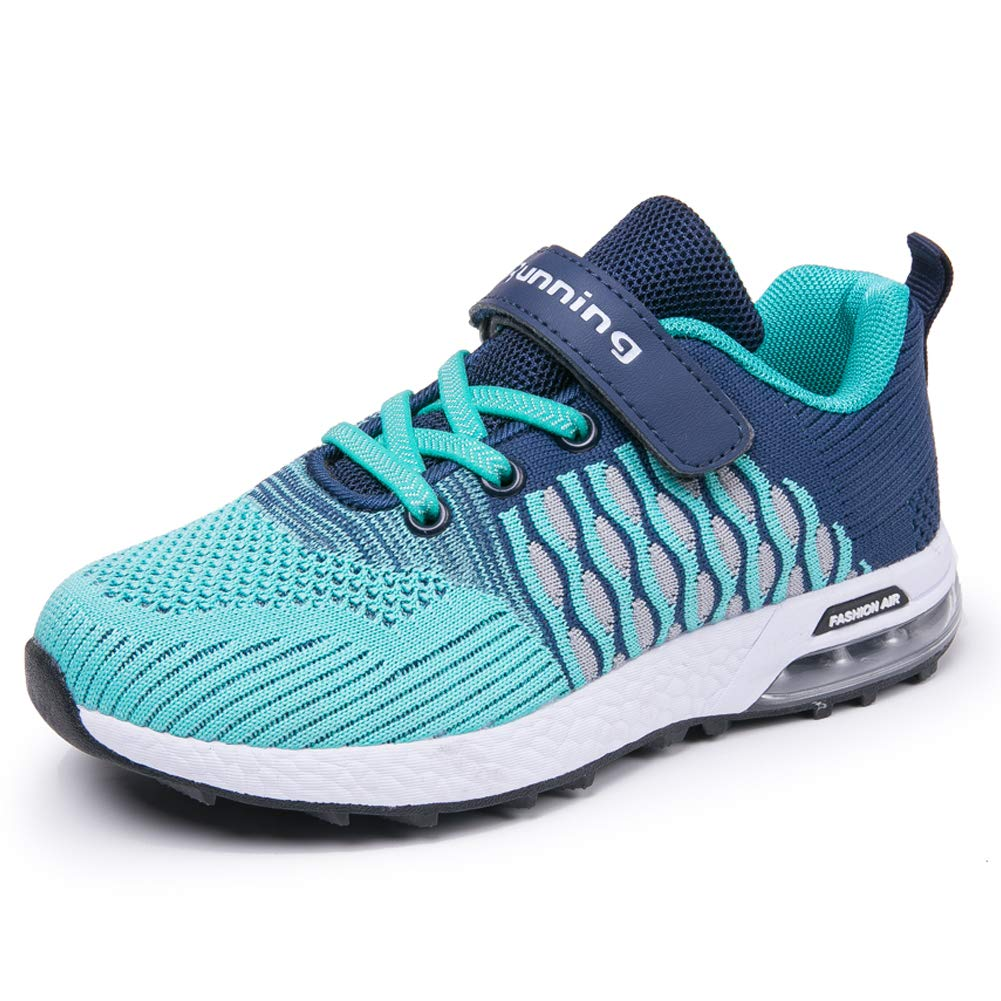JARLIF Kids Sneakers Ultra Breathable Tennis Air Trail Athletic Running Shoes for Girls Boys (5 M US Big Kid,Green) by JARLIF (Image #1)