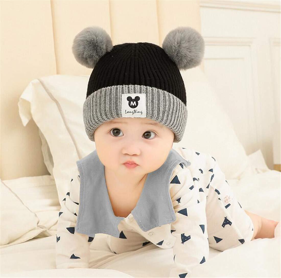 Heyuni.1pc Baby Hat Winter Cotton Lined Toddler Kids Knit Cap Warm Cute Pom Pom Beanie for Infant,6-36 Months