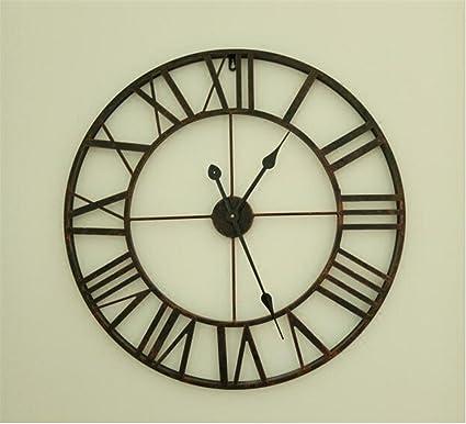 Estilo europeo minimalista moderno salón Reloj vintage reloj de hierro forjado cifras romanas redondeadas Moda creativa