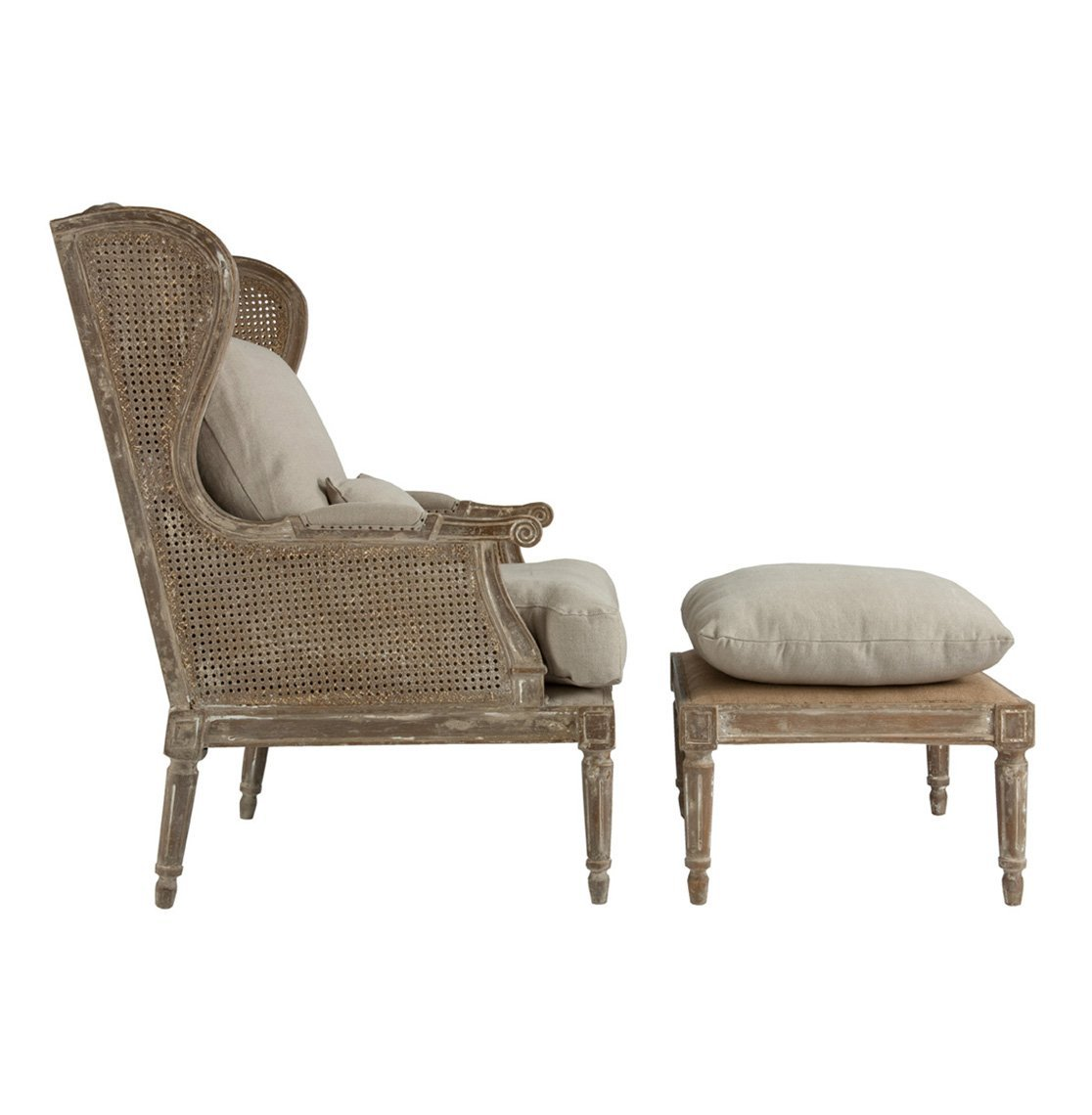 Awesome Amazon.com: Stephen Hemp French Country Wing Back Chair With Ottoman:  Kitchen U0026 Dining
