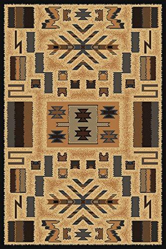 Superior Quality Beige Tan Southwest Carpet Modern Lodge Native American Contemporary Area Rug (2' x 3')