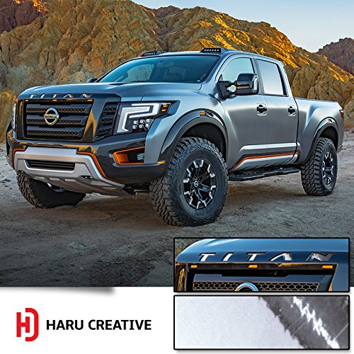 Haru Creative - Front Hood Grille Emblem Letter Insert Overlay Vinyl Decal Sticker Compatible with and Fits Nissan Titan XD 2016 2017 2018 - Chrome Silver