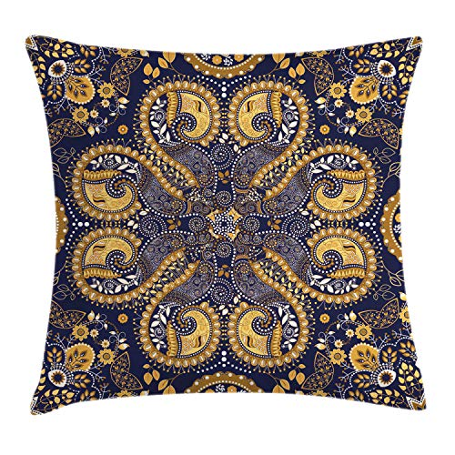"Ambesonne Ethnic Throw Pillow Cushion Cover, Pattern Style of Flower Ornaments Design Artwork Print, Decorative Square Accent Pillow Case, 20"" X 20"", Navy Blue"
