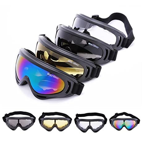 ce08a487dc Image Unavailable. Image not available for. Color  WOLFBIKE Super Black  Motorcycle Cycling Bicycle Bike ATV Motocross Ski Snowboard Off-road Goggles  FITS