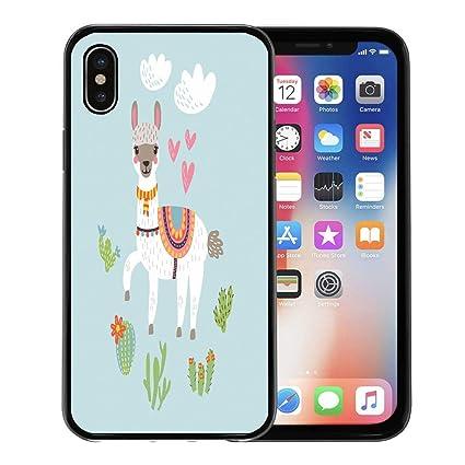 Semtomn Phone Case For Apple Iphone Xs Case Lama Llama Alpaca Clipart Tropical Wilderness Cute Fun For Iphone X Case Rubber Border Protective