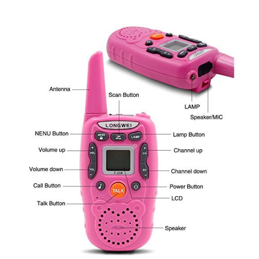 Kids Walkie Talkie Set 0.5W FRS/GMRS 22 Channel Two Way Radio Up to 3 Km Range for Children Camping Hiking(2PCS Pink) by longwei (Image #8)