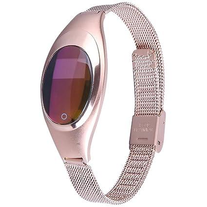 AIWatch Mujer metal presión arterial medir la frecuencia cardíaca pruebas bluetooth reloj inteligente sincronización de bandas