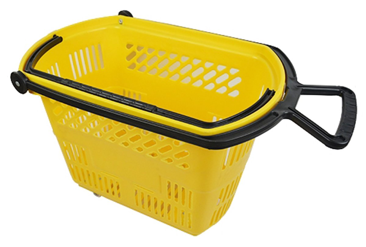 Plastic Rolling Grocery Shopping Basket on Wheels with Pull Handle - Yellow Lot of 6 New