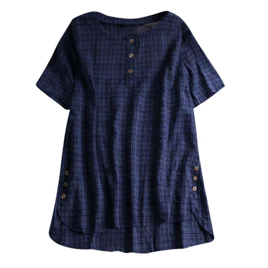 iLOOSKR Button Down Shirts! Summer Women's Long Sleeve Short Sleeve Cotton Tunic T-Shirt(Navy,XXXXL)