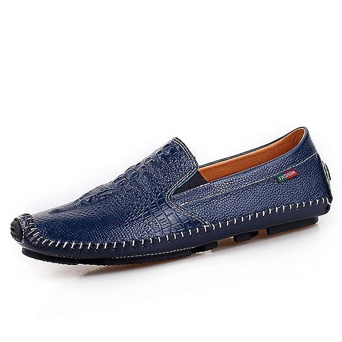 YAN 2018 Zapatos De Hombre De Cuero Verano/Otoño Mocasines Y Slip-Ons Negro/Marrón/Azul/Zapatos De Cuero Mocasines Comodidad, 38: Amazon.es: Ropa y ...